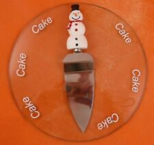 CHRISTMAS GLASS CAKE PLATE & SNOWMAN SLICER