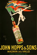 Original Vintage Wine Poster John Hopps & Sons by Bazzi 1923 Italian Marsala
