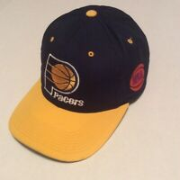 Vintage Indiana Pacers Blue Yellow GCC NBA Hat Adjustable Strapback Logo Cap
