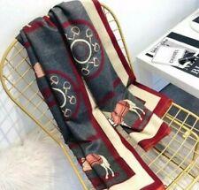 Women's Ladies Herme Horse Pashmina Cashmere Lightweight Knit Cape Wrap Scarf