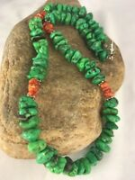 """Navajo Design Sterling Silver Green Magnesite Spiny Necklace Gift 20"""""""