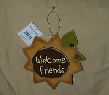 SUNFLOWER WELCOME FRIENDS WOODEN THANKSGIVING FALL DECORATION PLAQUE SIGN