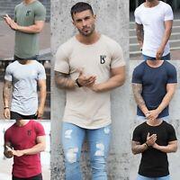 BBH Designer Mens Slim Fit Muscle T Shirt Gym Fitness Plain Curved Hem Tee Top