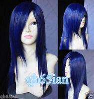New Long Dark Blue Cosplay Straight women's hair full Wig + Wigs cap