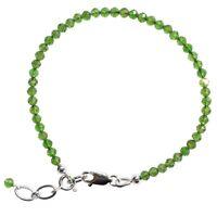 925 Sterling Natural Chrome Diopside Crystal Bracelet + Selenite Heart