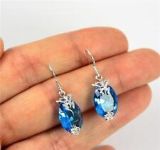 Pretty Solid 925 Sterling Silver & Blue Topaz Butterfly Drop / Dangle Earrings