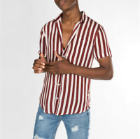 Luxury Men's Striped Short Sleeve Casual Shirt Tops Button Slim Fit Dress Shirts