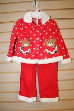 NEW YOUNG HEARTS INFANT GIRLS SIZE 24 MONTHS CHRISTMAS BEAR TOP & PANTS OUTFIT