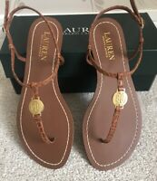 BNIB WOMENS LAUREN RALPH LAUREN LUXURY LEATHER AMARI-SN-CSL SANDALS/SHOES UK 6