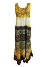 Bohemian Womens Sleeveless Cotton Printed Dress Yellow Boho Gypsy Hippy Dresses