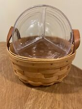 Longaberger Button Basket with Protector & Rare Divided Protector