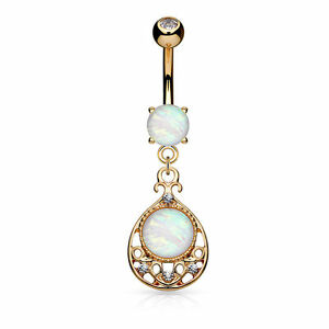Body Jewelry Rose Gold Belly Ring Opal Vintage Filigree Design 14g