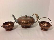 Venetian Copper Tea Pot Kettle Cinderella Pumpkin Milk Pitcher & Sugar Bowl Set