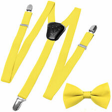 New Y back Kid's Boy's Suspender adjustable strap clip on & bowtie formal Yellow