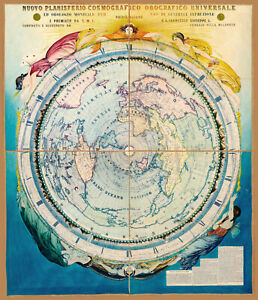 1858 Celestial World Map 11x13 Art Poster Mountains Constellations Times of Day