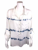 Side Stitch Women's Tie Dye Collared 3/4-Sleeves Top Indigo White Small Size