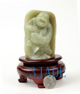 Natural Hetian Jade Maitreya Buddha Statue Sculpture Carving w/ Certificate