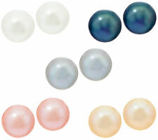 Honora Cultured Pearl Set of 5 8.0mm Boxed .925 Sterling Earrings classic