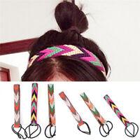 Vintage Women Bohemian Ethnic Embroidery Flower Headband Elastic Hair Band New*