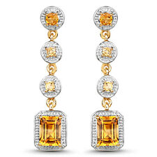 2.40ct Genuine Citrine 925 Sterling Silver 14K YellowGold Plated Dangle Earrings