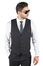 Men's Dress Suit Vest 5 Button V Neck Adjustable Back Strap Formal By AZAR MAN