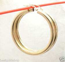 "4mm X 45mm 1 3/4"" Large Plain Shiny Hoop Earrings REAL 14K Yellow Gold"