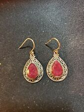 Shivam Made in India .925 Sterling Silver Red Beryl Earrings  - NEW