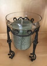 NEW Pottery Barn Rustic Iron Candle Holder with Glass Hurricane and Candle