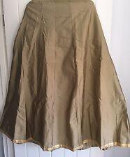 Beautiful Taffeta Silk Gold Beige Skirt Flared Pleats Evening Party Wedding UK