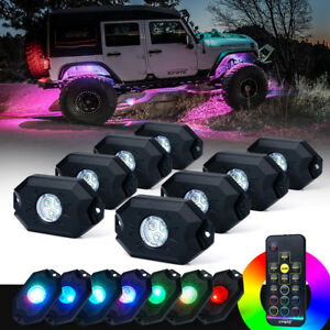Xprite 8PC Victory Series Remote Control RGB LED Rock Lights for Jeep ATV UTV