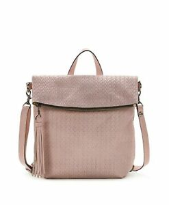 $249NWT PATRICIA NASH Luzille Leather Backpack Crossbody Pink Woven Convertible