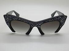 NEW MIU MIU SMU 01Q UAC-0A7 Black/Grey Cat-Eye Crystal 50mm Sunglasses