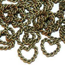 MX924 Antiqued Bronze 20mm Twisted 2-Strand Heart Link Design Component 100pc