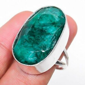 Emerald Gemstone Handmade 925 Sterling Silver Jewelry Ring Size 7.5 a137