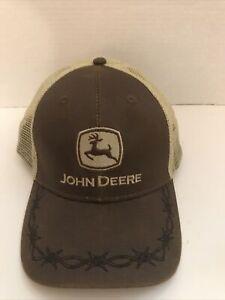 John Deere Barbed Wire Snap-Back Trucker Hat Cap Brown Tan Mesh 2018 ~N w/o Tags