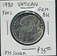 VATICAN - SPECTACULAR HISTORICAL JOHN PAUL II SILVER 500 LIRE, 1980//II, KM# 148