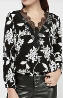 New Express Womens Lace Deep V-Neck Banded Floral Top size XS Long Sleeve Blouse