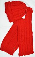 Womens Ladies Woolly Thick Knit Hat And Scarf Set Knitted Woollen