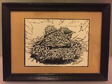 "Vintage Matted & Framed Print by ""Lois L Zwahlen"" Baby Bird In Nest Ink Drawing"