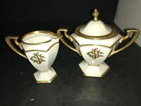 LIMOGES BERNARDAUD B&C CREAMER & SUGAR BOWL FOOTED WHITE HEAVY GOLD TRIM