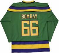 Gordon Bombay #66 The Mighty Ducks Movie Men Hockey Jersey Green S-3XL