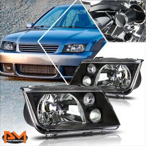 For 99-05 Volkswagen Jetta MK4 Black Housing Clear Lens Headlight w/Fog Lamps