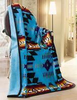 "Navajo Print Throw Blanket Sherpa Southwest Native American Indian 50""x 60""BU"