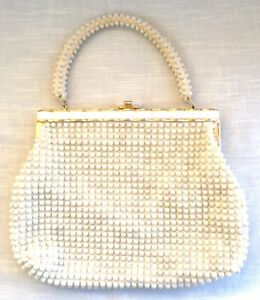 Vintage Mid-Century Beaded Purse w/Lucite Clasp - Bags by Debbie - Hong Kong