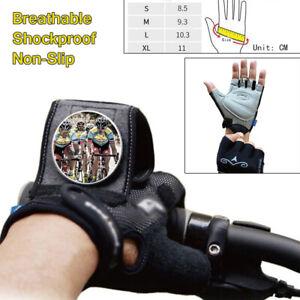 Pair Cycling Bike Unisex Gloves Half Finger Rearview Mirror Anti-slip Size S-XL