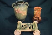 "Vintage Roseville Art Pottery 3 piece lot  Damaged (""Save Me"")"