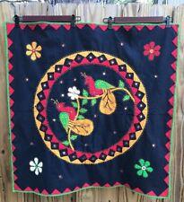 Vtg Exotic Birds Floral Mirrored Appliqué Embroider Textile Table Wall Decor Sq