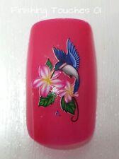 Nail Art de transferencia de agua-Azul Mate Flor De Pájaro calcomanía # 374 c005 Etiqueta Envoltorio