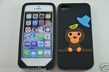 Black Baby Milo Monkey iPhone 5 5S Silicone Gel Full Back Designer Luxury Case