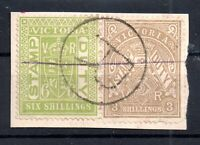 Victoria State 1879-1896 3/- & 6/- Stamp Duty on piece Registered PMK WS15861
